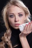 Upset crying woman. tragic expression. — Stock Photo