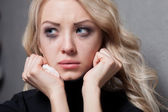Upset crying woman. tragic expression. — Stock Photo