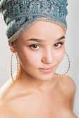 Beautiful woman in a turban — Stock Photo