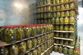 Gurtsov conservation. Fresh cucumbers in jars — Stock Photo