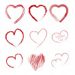 Set of scribble hearts — Stockvektor