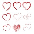 Set of scribble hearts — Stock vektor