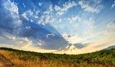 Sunrays sunset in late summer — Stock Photo