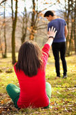 Young couple breaking up. Girl shouting out for boy. — Stock Photo