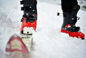 Man ski boots and skis. — Stock Photo