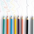 Colored lines drawn by pencils. Very shallow depth of field. — Stock Photo #40101077