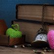 Vintage pocket watch and old books — Stock Photo