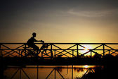 Silhouette of biker on Bridge — Stock fotografie