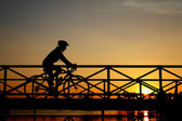 Silhouette of bike on Bridge — Stock Photo