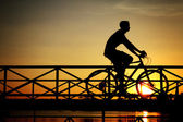 Silhouette of biker on Bridge — Stock Photo