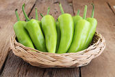 Close up fresh sweet chili on wooden — Stock Photo