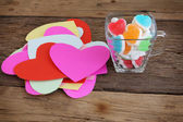 Sweet valentine jelly on wooden — Stock Photo