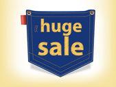 Sale Badge Blue Jeans Pocket Shaped — Stock Vector