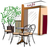 Main dessinée café de paris — Vecteur