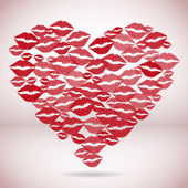 Heart shape made with print kisses — Stock Vector