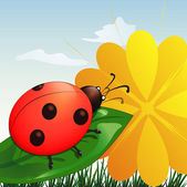 Ladybug on leaf — Stock Vector