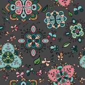 落書き鮮やかな花のシームレスなパターン — ストックベクタ