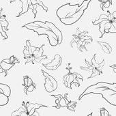Black-and-white flowers pattern — Vecteur