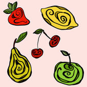 Stylized fruits on monochromatic background — Stock Vector