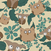 Vector seamless pattern with cute owls, leaves — Stock Vector