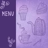 Tea time card menu — Stock Vector