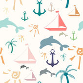 Seamless pattern with summer symbols — Stock Vector