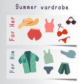 Flat set of beach accessories — Stok Vektör