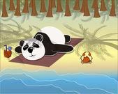 Panda lying on the beach — Vetorial Stock