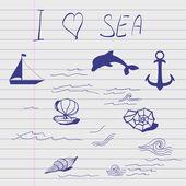 Sketch of sea elements. — Stock Vector