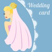 Bride on wedding holiday card. — Stock Vector