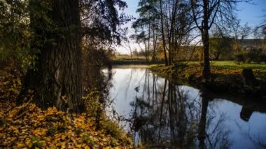 Timelapse small river at dawn — Stok video