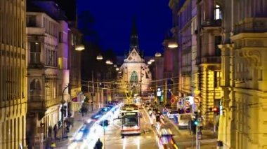 Timelapse night street in Central Europe — Stock Video