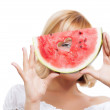 Girl holding watermelon — Stock Photo