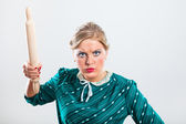 Angry retro housewife — Stock Photo
