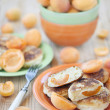 Stock Photo: Quark pancakes with apricots