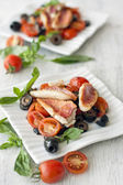 Red mullet with vegitables — Stock Photo