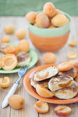 Quark pancakes with apricots — Stock Photo
