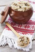 Barley porrige with mushrooms — Foto de Stock