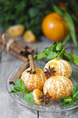 Tangerines with anise and mint — Stock Photo