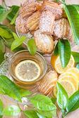 Lemon madeleines with tea — Stock Photo