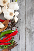Garlic, pepper, and rosemary side copyspace — Stock Photo