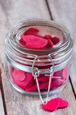 Hearts in jar — Stock Photo