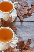 Autumn tea background — Stock Photo