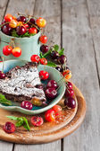 Clafoutis with cherry background — Foto de Stock
