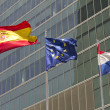 Stock Photo: European, spanish and french flag