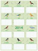 2014 bird calendar — Stock Vector