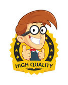 Nerd Geek with Guarantee Icon — Stock Vector