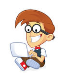 Nerd Geek with his Laptop — Stock Vector