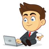 Geschäftsmann mit seinem laptop — Stockvektor