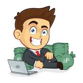 Rich Businessman Lie Around Cash — Stock Vector